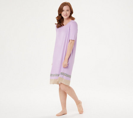 Cuddl Duds Smooth Jersey Print Mix Dress