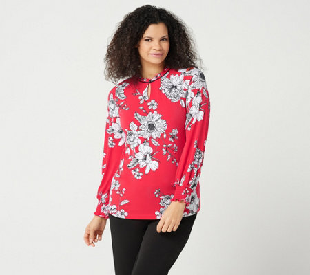 Susan Graver Printed Liquid Knit Top with Smocked Cuffs