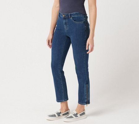 LOGO by Lori Goldstein Straight Leg Jeans with Zipper Detail