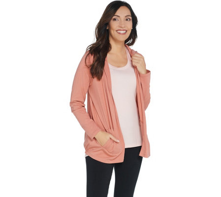 AnyBody Loungewear Cozy Knit Hooded Cardigan