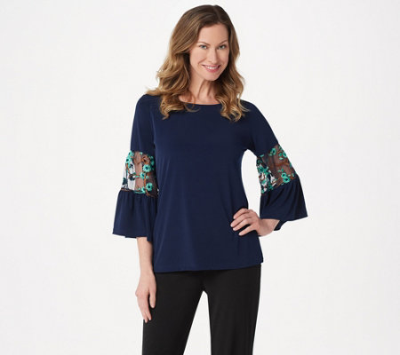 Susan Graver Liquid Knit Top with Embroidered Mesh Sleeves