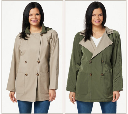 Martha Stewart Water Resistant Reversible Double Breasted Coat