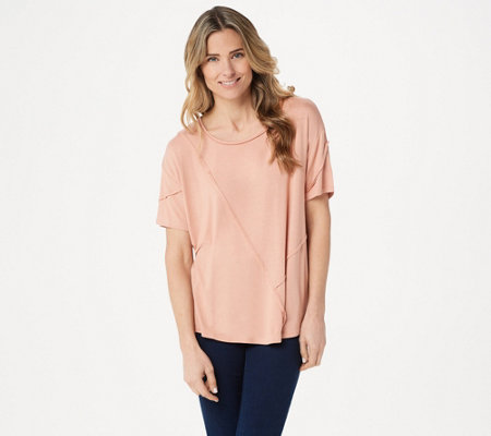 Lisa Rinna Collection Raw Edge Seam Detail Top
