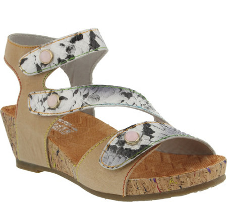 L'Artiste By Spring Step Leather Wedge Sandals- Adeline