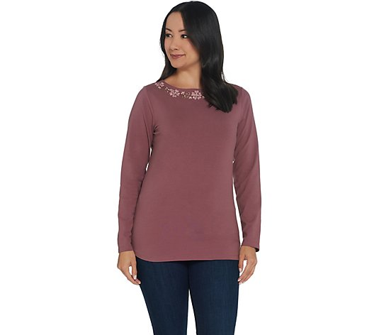 """As Is"" Denim & Co. Perfect Jersey Boatneck Long-Sleeve Top with Embroidery"