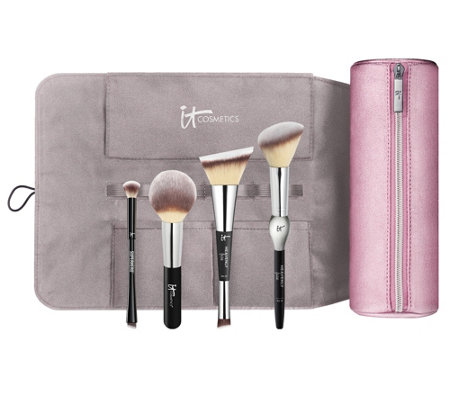 It Cosmetics Special Edition Luxe Brush Set With Roll Makeup Bag Qvc