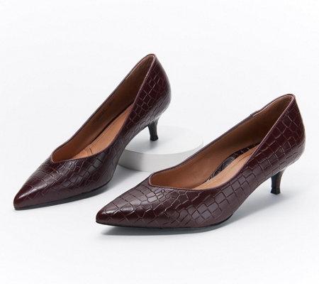 good looking men/man aliexpress Vionic Leather Kitten Heel Pumps - Josie Croc — QVC.com