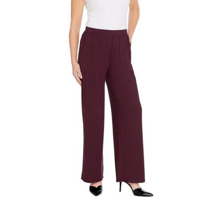 """As Is"" LOGO by Lori Goldstein Solid Pull-On Wide-Leg Pant"