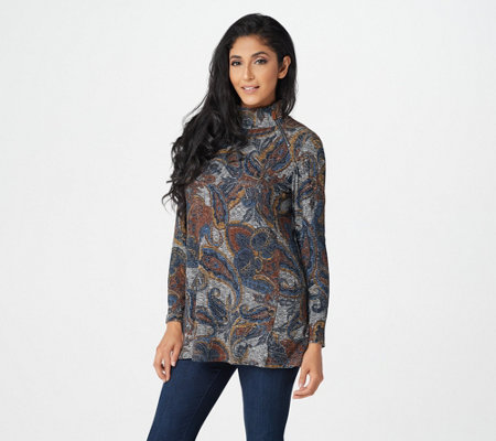 Susan Graver Weekend Printed Ribbed Knit Mock-Neck Tunic