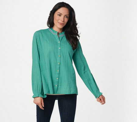 """As Is"" LOGO by Lori Goldstein Woven Cotton Blouse with Ruffle"