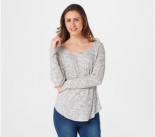Lisa Rinna Collection Long Sleeve Ribbed Top with Seaming