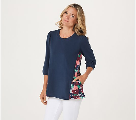 LOGO Lounge by Lori Goldstein Cotton French Terry Top with Printed Back