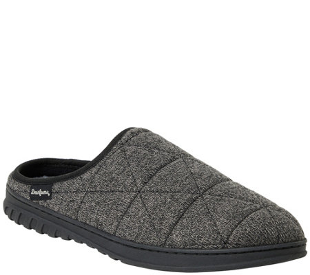 Dearfoams Men S Heathered Knit Quilted Clog Slippers