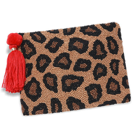 Smithsonian Beaded Animal Attraction Printed Clutch