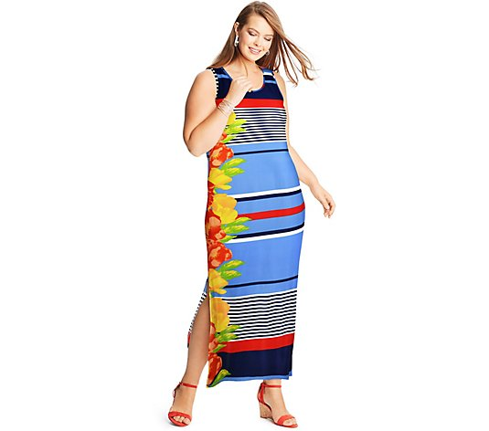 Just My Size Women's Plus Striped Floral Maxi Dress