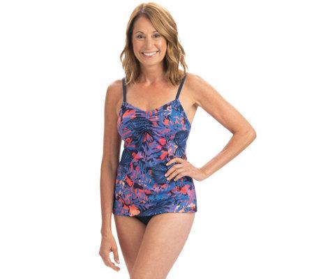 Dolfin Aquashape Isla Print Tie Front Tankini Swim Top