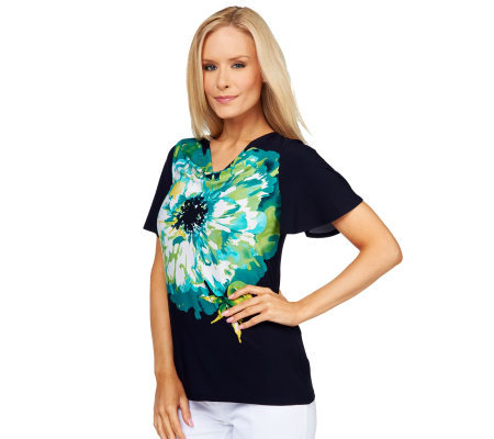 Susan Graver Liquid Knit Floral Placement Print Drape Neck Top