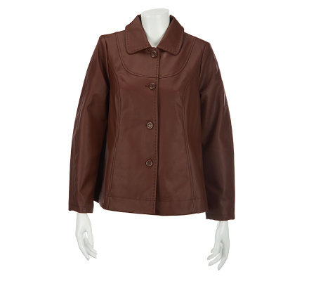 Dennis Basso Faux Leather Button Down Long Sleeve Jacket