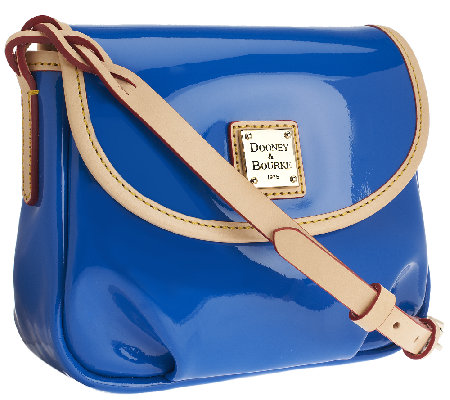 Dooney Bourke Patent Leather Flap Pleated Crossbody