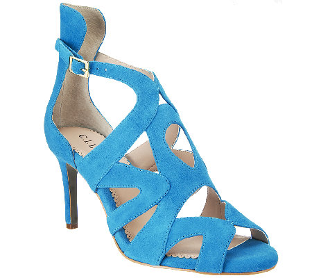 G.I.L.I. Suede Pumps with Cut-out Detail - Seville