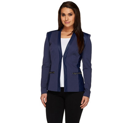 G.I.L.I. Twill and Faux Leather Blazer with Zip Pockets