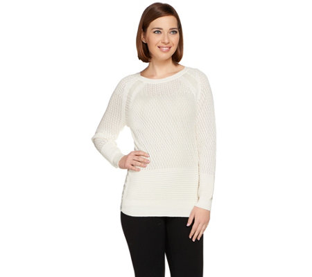 H by Halston Pointelle Pullover Sweater with Chiffon Insets