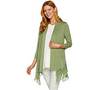 LOGO by Lori Goldstein Knit Cardigan with Swiss Dot Pleated Trim - A274991