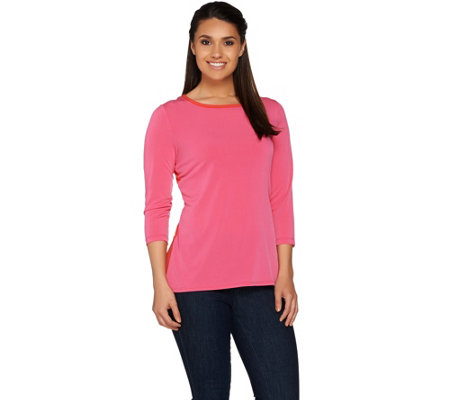 Susan Graver Liquid Knit 3/4 Sleeve Colorblock Top
