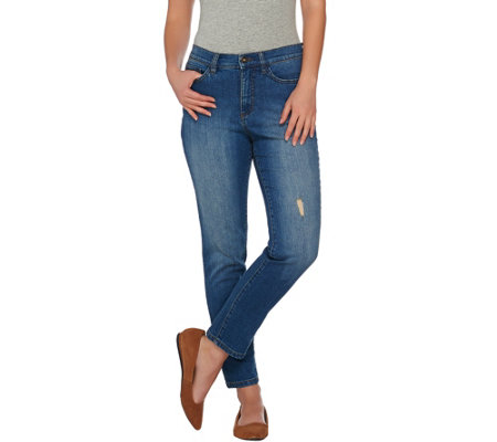 Studio by Denim & Co. Classic Denim Distressed Ankle Jeans