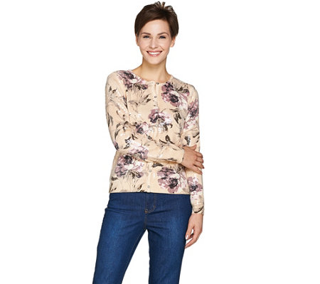 Isaac Mizrahi Live! Special Edition Rose Printed Sequin Cardigan
