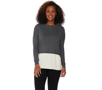 Peace Love World Sweater Knit Top With Woven Hem A
