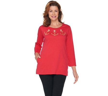 Quacker Factory Anchor Grommet Embroidered Tunic with Pockets