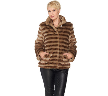 Dennis Basso Platinum Collection Faux Fur Cropped Jacket