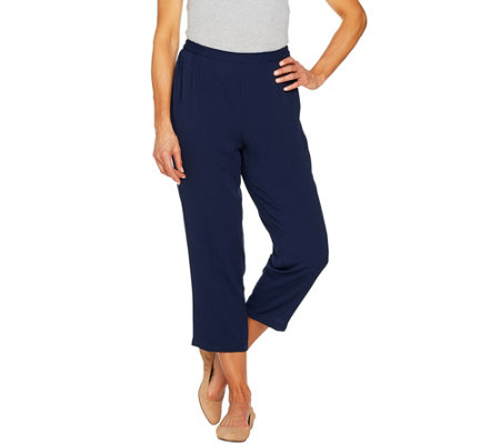 Linea by Louis Dell'Olio Pebble Crepe Pull On Crop Pants