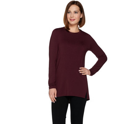 """As Is"" H by Halston Essentials Long Sleeve Crew Neck Knit Tunic"
