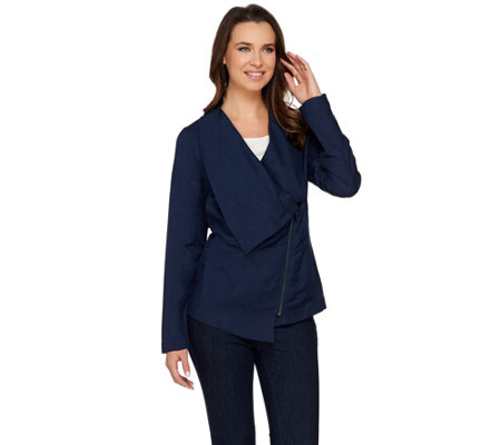 """As Is"" H by Halston Draped Zip Front Linen Blend Blazer"
