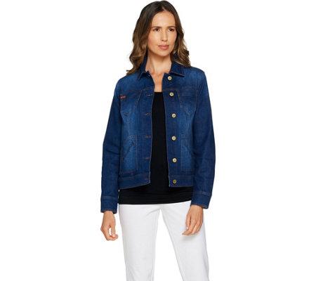 Isaac Mizrahi Live True Denim Jean Jacket With Patch Pockets