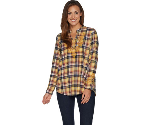 Logo By Lori Goldstein Woven Plaid Top With Embroidery