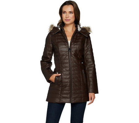 Dennis Basso Quilted Faux Leather Coat w/ Faux Fur Trim Hood