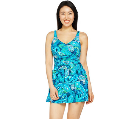 """As Is"" Denim & Co. Beach Ruched Flounce Swim Dress"