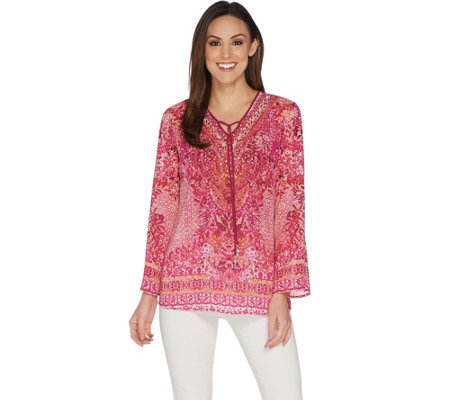 Belle By Kim Gravel Printed Woven V Neck Tunic With Tassels