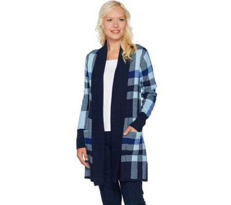 """As Is"" Isaac Mizrahi Live! Engineered Plaid Cardigan with Pockets"