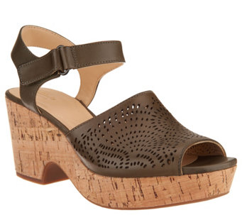 cf21f8e7137 Clarks Artisan Perforated Leather Wedge Sandals - Maritsa Nila - A304291