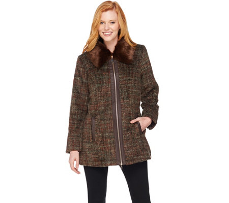"""As Is"" Dennis Basso Zip Front Tweed Coat with Faux Fur Collar"