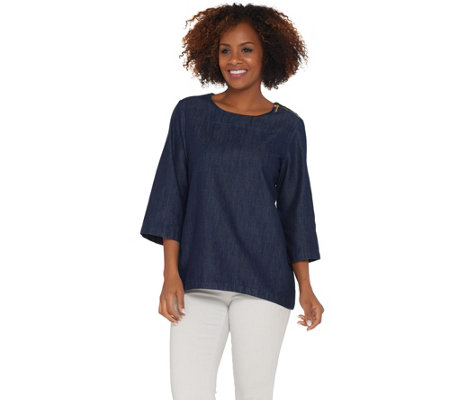 Martha Stewart Denim 3/4 Sleeve Top with Zipper Detail
