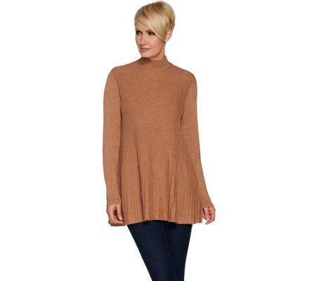 """As Is"" Joan Rivers Mock Turtleneck Pleated Swing Tunic"