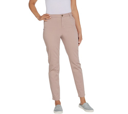 LOGO by Lori Goldstein Stretch Twill Skinny Pant with Pockets
