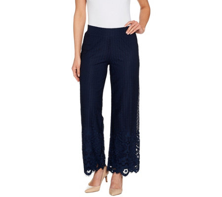 """As Is"" Isaac Mizrahi Live! Regular Engineered Lace Wide Leg Pants"
