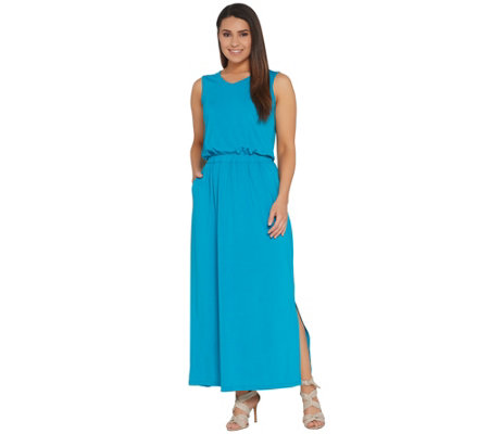 """As Is"" Joan Rivers Petite Sleeveless V-Neck Jersey Maxi Dress"