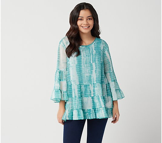 LOGO by Lori Goldstein Printed Chiffon Blouse with Tank